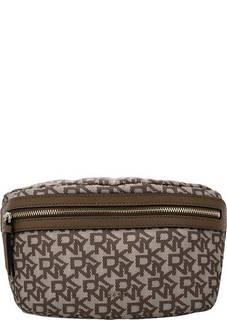 Сумка Текстильная поясная сумка с монограммой бренда Dkny