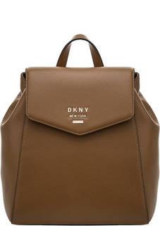 Рюкзак из зерненой кожи с откидным клапаном Dkny