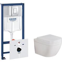 Комплект унитаза Grohe Euro Ceramic Rapid SL с инсталляцией, сиденьем микролифт, клавишей хром (39328000, 38775001, 39330000)