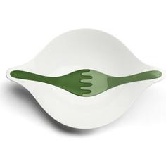 Салатница с приборами 3 л бело-зелёая Koziol Leaf L+ (3692345)