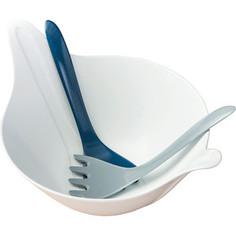 Салатница с приборами 4 л бело-синияя Koziol Leaf 2.0 (3693409)