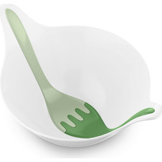 Салатница с приборами 4 л бело-зелёая Koziol Leaf 2.0 (3693345)