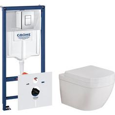 Комплект унитаза Grohe Euro Ceramic Rapid SL с инсталляцией, сиденьем микролифт, клавишей хром (3932800H, 38775001, 39330000)