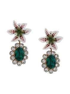 Dolce & Gabbana клипсы с цветочным декором и кристаллами