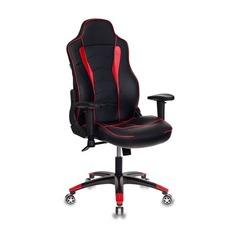 Кресло игровое БЮРОКРАТ Viking-3, на колесиках, искусственная кожа [viking-3/bl+red]