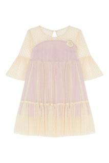 Короткое комбинированное платье Balloon and Butterfly