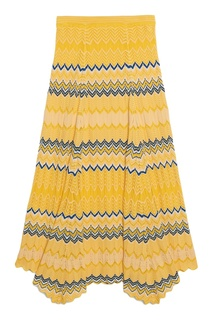Желтая юбка из ажурного трикотажа Sandro