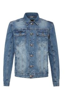 Джинсовая куртка с вышивкой и надписями Philipp Plein