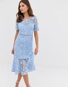 Кружевное платье миди Liquorish - Синий