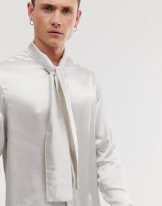 Бежевая атласная рубашка классического кроя с бантом ASOS DESIGN - Белый