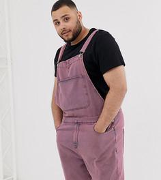 Розовый короткий джинсовый комбинезон с эффектом кислотной стирки ASOS DESIGN Plus - Розовый