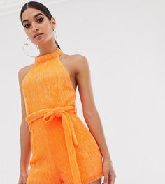 Неоново-оранжевый ромпер с халтером и пайетками Club L London Petite - Оранжевый