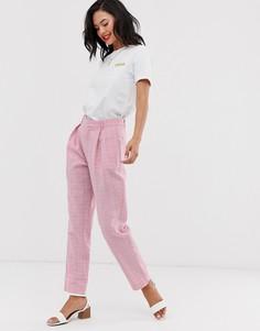 Суженные книзу брюки в клетку с завышенной талией Daisy Street - Розовый