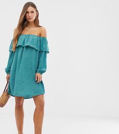 Платье в горошек с открытыми плечами Glamorous - Зеленый