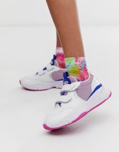 Белые кожаные массивные кроссовки с розовыми вставками и двумя ремешками на липучках Ellesse - Cesana - Мульти