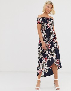 Платье миди с открытыми плечами и цветочным принтом Parisian - Мульти