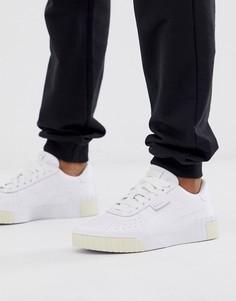 Белые кроссовки с отделкой лимонного цвета Puma - Cali - Белый