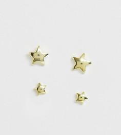 Серьги-звездочки из позолоченного серебра Kingsley Ryan - 2 пары - Золотой