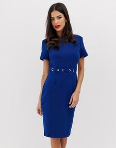 Платье-футляр с короткими рукавами и отделкой на талии Paper Dolls - Синий