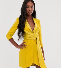 Короткое платье-смокинг с поясом ASOS DESIGN Tall - Желтый