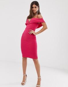 Платье миди с открытыми плечами и глубоким вырезом Club L London - Розовый