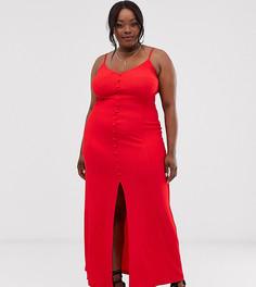 Фактурное платье макси на бретельках с пуговицами ASOS DESIGN Curve - Красный