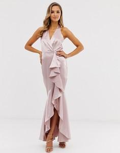 Атласное платье макси City Goddess - Розовый