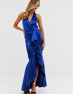 Атласное платье макси с оборками City Goddess - Синий