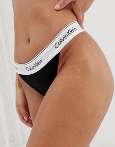 Хлопковые трусы-танга с высоким вырезом по бедру Calvin Klein Modern - Черный
