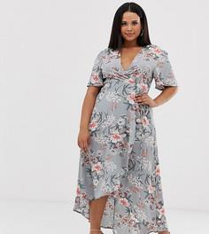 Эксклюзивное платье миди с цветочным принтом Missguided Plus - Синий