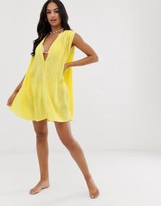 Желтое свободное пляжное платье на пуговицах Seafolly - Фиолетовый