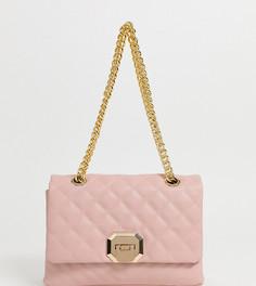 Светло-розовая стеганая сумка через плечо с двойной золотистой ручкой-цепочкой ALDO Menifee - Розовый