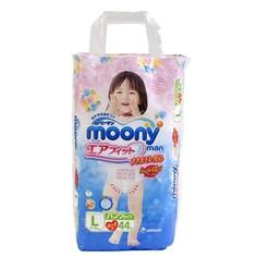 Подгузники Moony Unicharm L 9-14кг 44шт для девочек 4903111183500