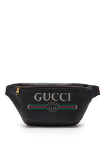 Черная кожаная сумка на пояс с логотипом «Gucci»