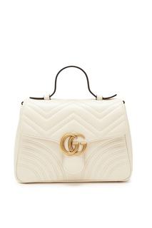 Кожаная сумка цвета экрю из коллекции «Marmont» Gucci