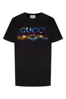 Черная футболка свободного кроя с принтом на груди Gucci