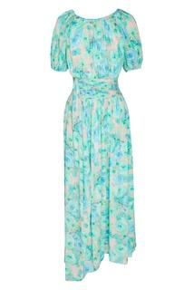 Крепдешиновое платье с коротким рукавом Prada