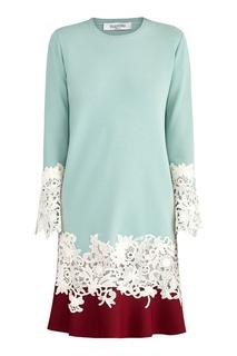 Двуцветное расклешенное платье с кружевом Valentino