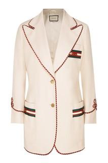 Белый жакет с полосатым кантом Gucci