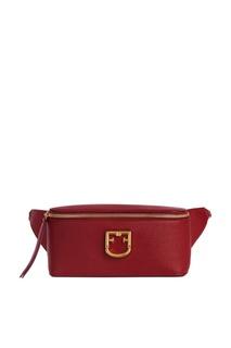 Бордовая сумка на пояс Furla
