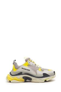 Серо-бело-желтые кроссовки Triple S Balenciaga