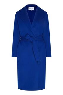 Синее пальто на запах с поясом Claudie Pierlot