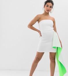 Эксклюзивное платье-бандо мини с баской сбоку True Violet - Зеленый
