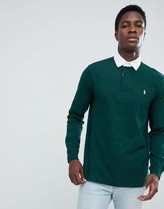 Зеленое поло с длинными рукавами и логотипом Polo Ralph Lauren - Зеленый