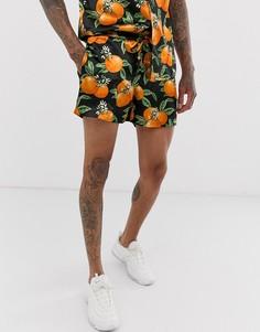 Атласные шорты с принтом апельсинов Urban Threads - Черный