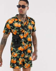 Атласная рубашка с принтом апельсинов и воротником в виде лацканов Urban Threads - Черный