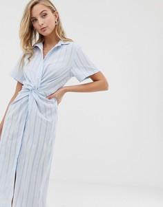 Синее платье-рубашка с перекрученной отделкой Liquorish - Синий