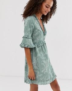 Платье с мелким принтом папоротника и оборками Parisian - Зеленый