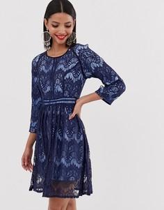 Кружевное короткое приталенное платье Liquorish - Темно-синий