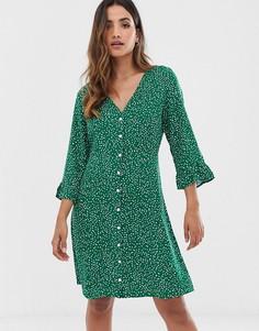 Платье на пуговицах с цветочным принтом Y.A.S - Зеленый